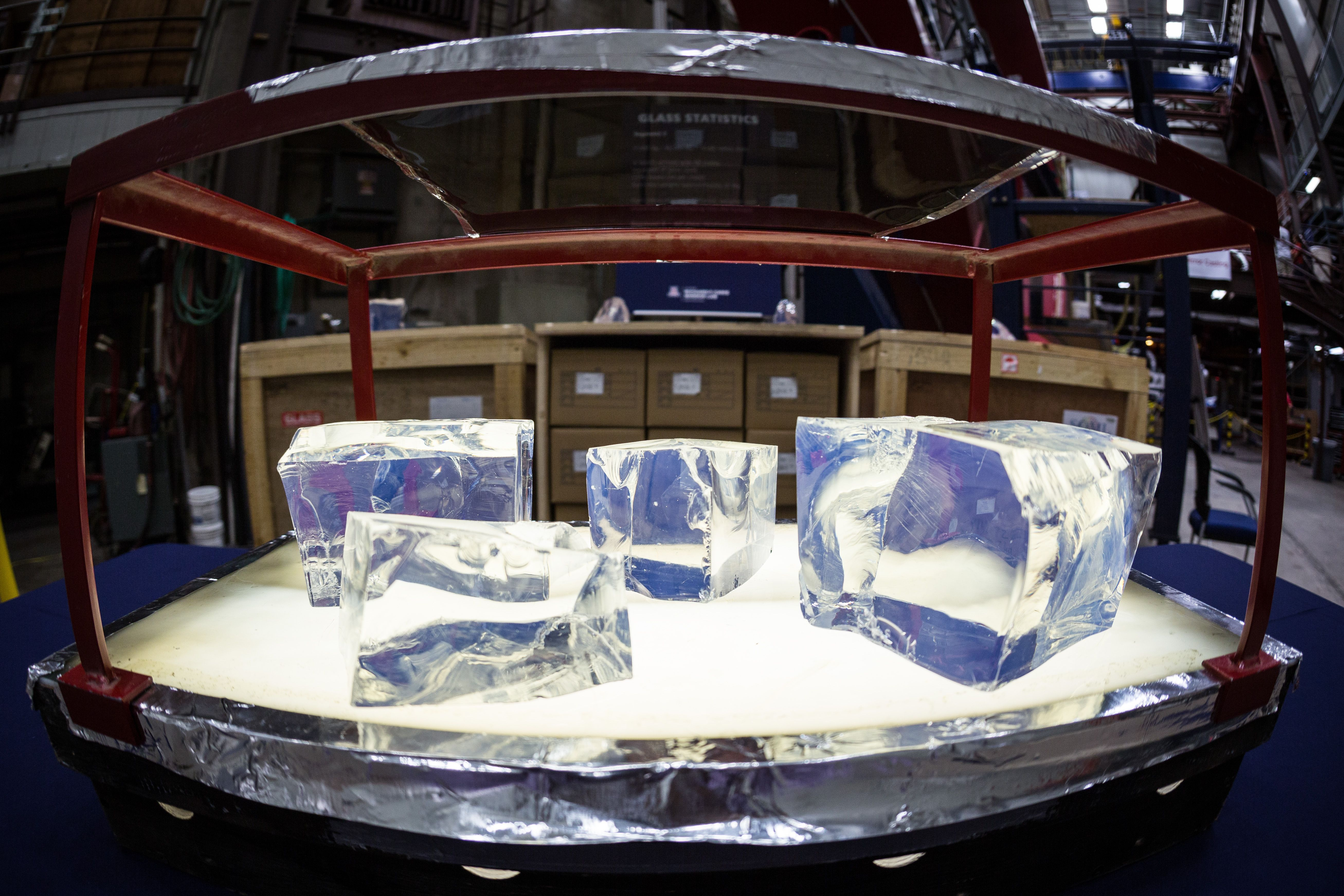 Photo of glass being inspected at Richard F. Caris Mirror Lab